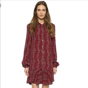 Free people cranberry floral shirt dress
